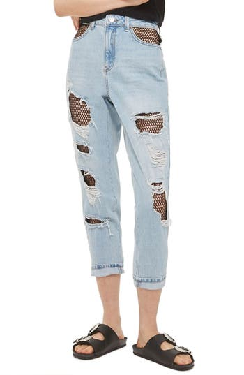 Women's Topshop Fishnet Rip Mom Jeans