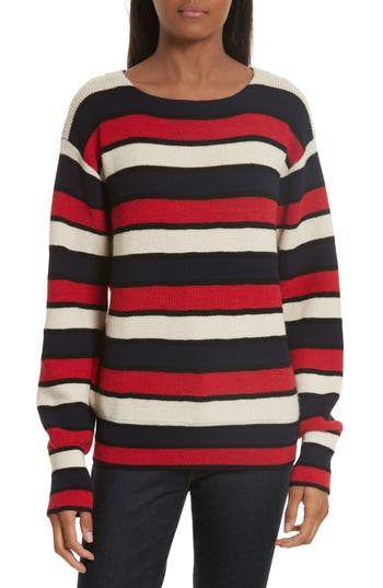 Women's Tory Burch Austrie Stripe Alpaca Sweater, Size X-Small - Red