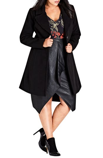 Plus Size City Chic Midnight Escape Coat, Black