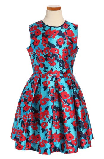 Girl's Oscar De La Renta Wild Roses Mikado Party Dress, Size 14Y - Blue
