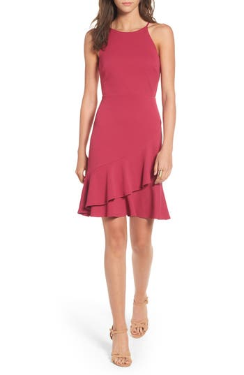 Women's Soprano Ruffle Hem Knit Dress, Size Small - Pink