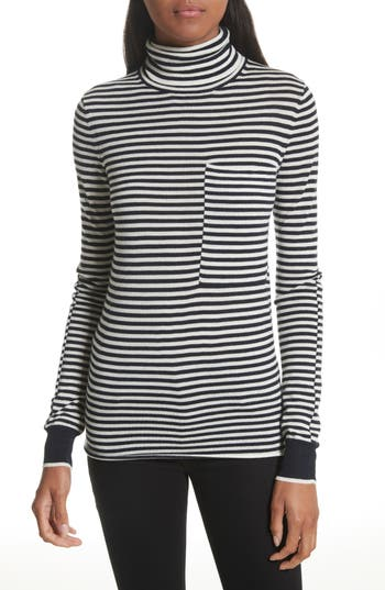 Women's Joseph Stripe Wool Turtleneck Sweater, Size Small - Blue