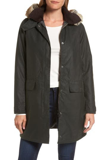 Women's Barbour Fortrose Hooded Water Resistant Waxed Canvas Jacket With Faux Fur Trim