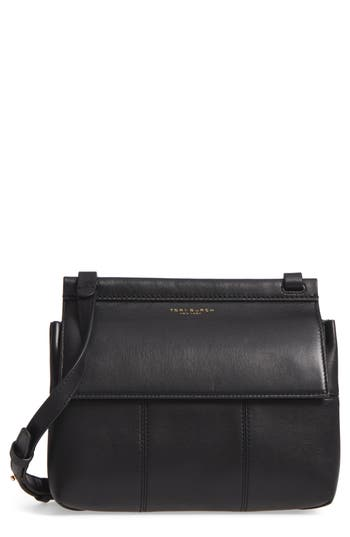 Tory Burch Block T Leather Crossbody Bag - Black