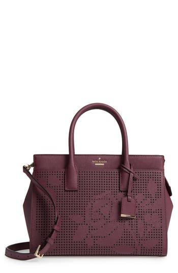 Kate Spade  CAMERON STREET - CANDACE PERFORATED LEATHER SATCHEL - PURPLE