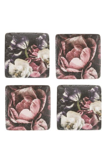 Eightmood Blume & Blossomville Set Of 4 Resin Coasters, Size One Size - Pink