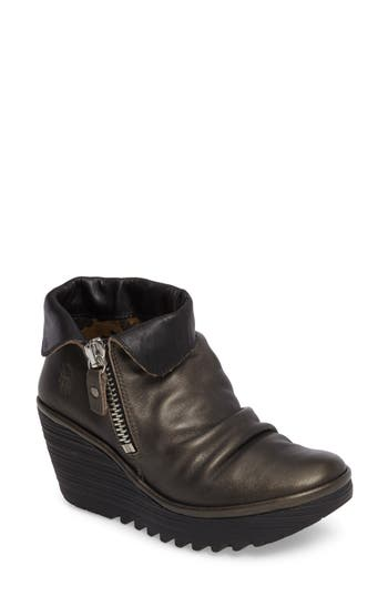 Fly London Yoxi Wedge Bootie, Grey
