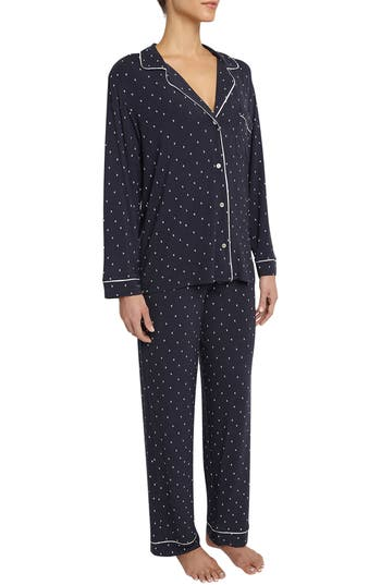 EBERJEY Sleep Chic Printed Stretch-Jersey Pajama Set in Navy