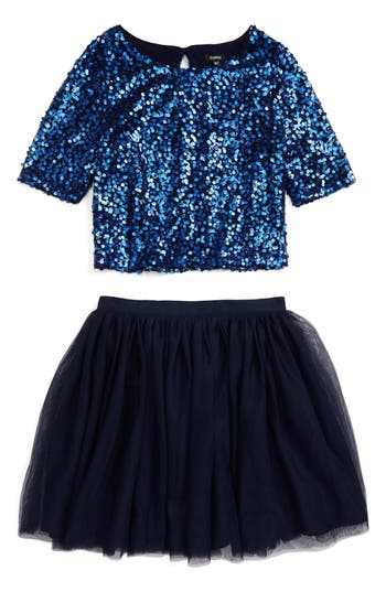 Girl's Zunie Sequin Top & Tulle Skirt Set