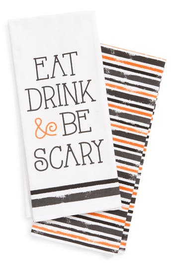 Levtex Eat, Drink & Be Scary 2-Pack Dish Towels, Size One Size - White