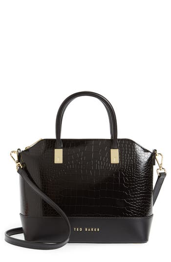 Ted Baker London Camilee Croc Embossed Leather Top Handle Tote -