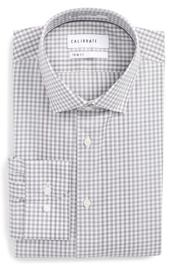Men's Calibrate Trim Fit Stretch Non-Iron Check Dress Shirt