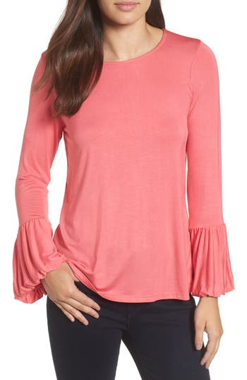 Women's Bobeau Bell Sleeve Top, Size X-Small - Coral