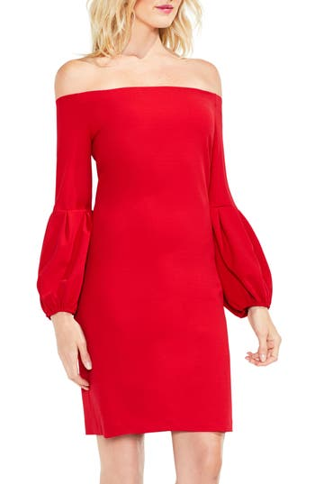 Vince Camuto Blouson Sleeve Dress, Red
