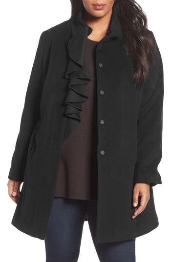 Victorian Style Blouses, Tops, Jackets Plus Size Womens Tahari Kate Ruffle Wool Blend Coat Size 3X - Black $189.90 AT vintagedancer.com