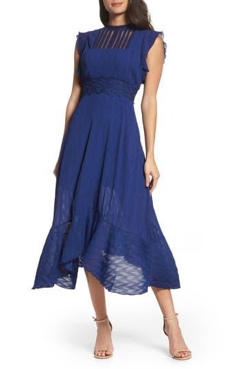 Women's Foxiedox Isadora Lace Trim Pintuck Midi Dress