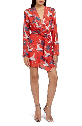 Women's Missguided Print Wrap Dress, Size 2 US / 6 UK - Red