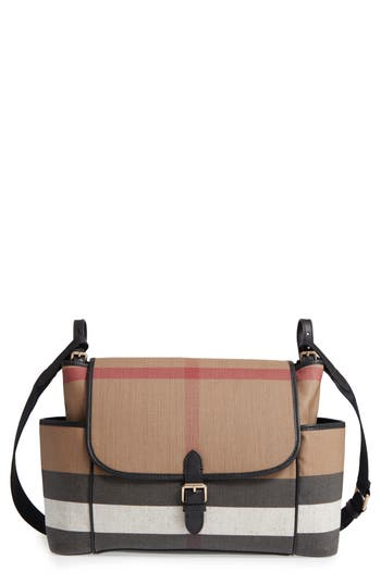 Infant Burberry Flap Diaper Bag - Black