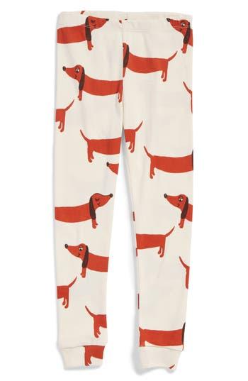 Girl's Mini Rodini Dog Organic Cotton Leggings, Size 4-5Y / 104-110 cm - White