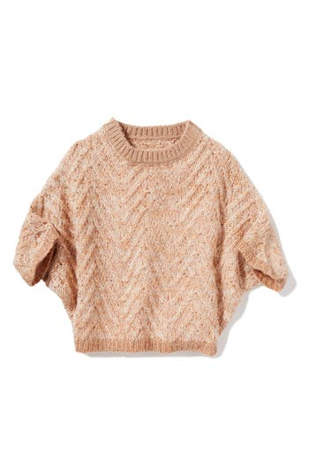 Girl's Peek Olivia Chevron Stripe Sweater, Size L (8) - Coral