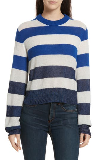 Women's Rag & Bone Annika Stripe Sweater, Size XX-Small - Blue