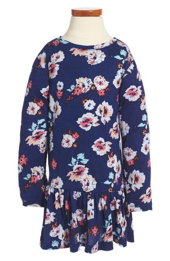 Girl's Peek Maddie Floral Print Drop Waist Dress