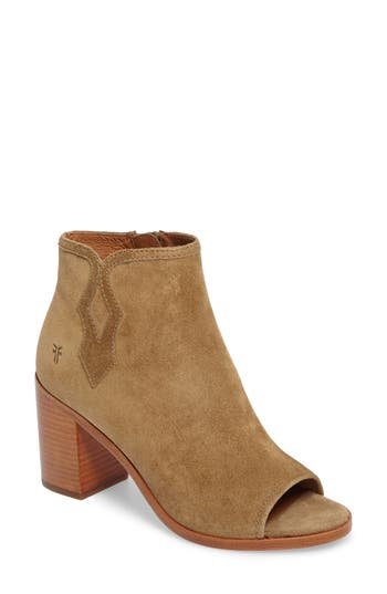Frye Danica Peep Toe Bootie- Brown
