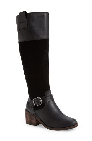 Lucky Brand Kailan Ankle Strap Tall Boot, Regular Calf- Black
