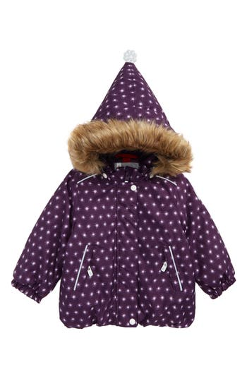 Toddler Girl's Reima Reimatec Waterproof Hooded Jacket With Faux Fur Trim