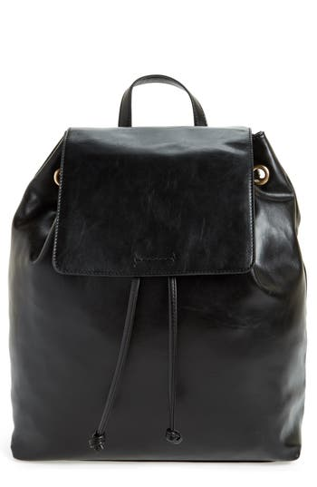 Sole Society Carly Slouchy Faux Leather Backpack - Black