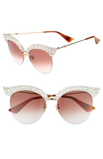 Women's Gucci 53Mm Embellished Cat Eye Sunglasses - White