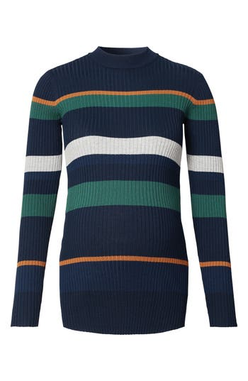 Women's Noppies Georgia Stripe Maternity Sweater, Size X-Small - Blue