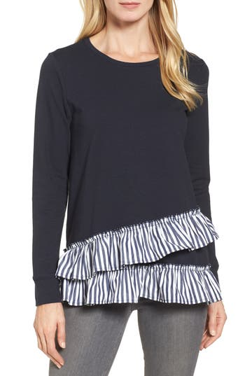 Women's Bobeau Poplin Ruffle Trim Sweatshirt, Size X-Small - Blue