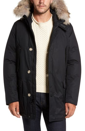 Men's Woolrich John Rich & Bros. Laminated Cotton Down Parka With Genuine Coyote Fur Trim
