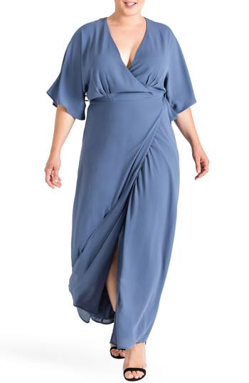 Plus Size Women's Standards & Practices Olivia Print Wrap Maxi Dress, Size 1X - Blue