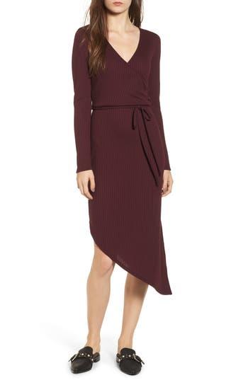 One Clothing Ribbed Knit Asymmetrical Wrap Midi Dress, Purple