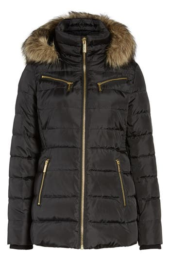Michael Michael Kors Puffer Coat With Detachable Hood And Faux Fur Trim, Black