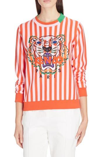 Women's Kenzo Embroidered Tiger Stripe Sweatshirt, Size Medium - Red
