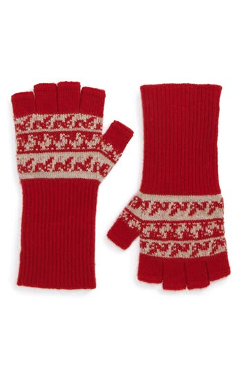 Burberry Fair Isle Cashmere & Wool Fingerless Gloves, Size One Size - Red