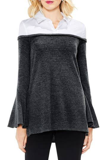 Women's Vince Camuto Bell Sleeve Mix Media Jersey Top