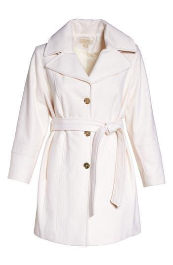 Plus Size Michael Michael Kors Hooded Coat, Ivory