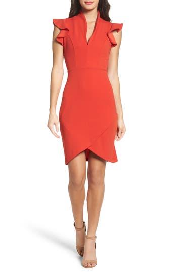 Women's Fraiche By J Ruffle Sleeve Sheath Dress, Size Medium - Red