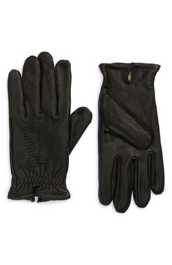 Nordstrom Shop Deerskin Leather Gloves, Black
