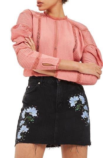 Women's Topshop Floral Embroidered Denim Skirt, Size 2 US (fits like 0) - Black