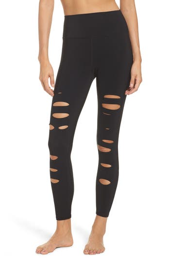 Women's Alo Ripped Warrior Midi Leggings, Size Large - Black -  adult