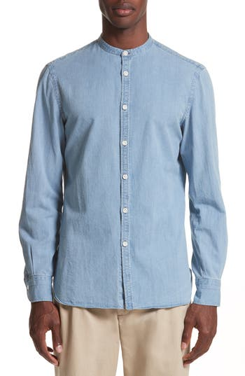 Men's Eidos Napoli Washed Denim Band Collar Shirt