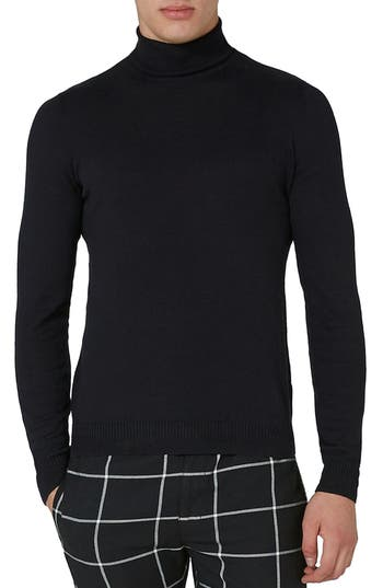 Men's Topman Cotton Turtleneck Sweater, Size Large - Black