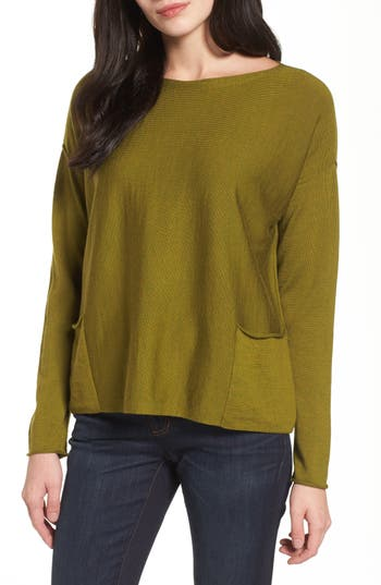 Women's Eileen Fisher Bateau Neck Merino Boxy Top, Size XX-Small - Green
