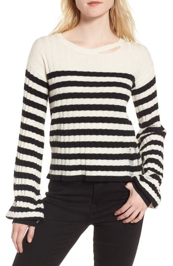 Women's Pam & Gela Destroyed Stripe Sweater, Size Medium - Black