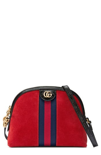 Gucci Small Suede Shoulder Bag - Red